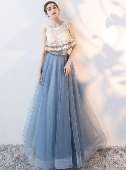 In Stock:Ship in 48 hours Blue Tulle Lace Backless Prom Dress