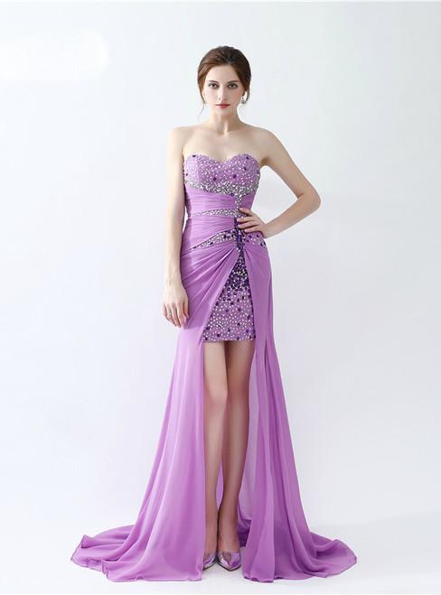 In Stock:Ship in 48 hours Hi Lo Purple Satin Sweetheart Prom Dress