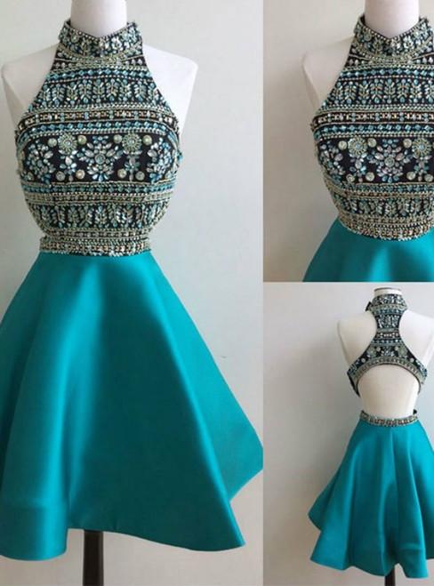 High-neck Sleeveless Homecoming Dresses