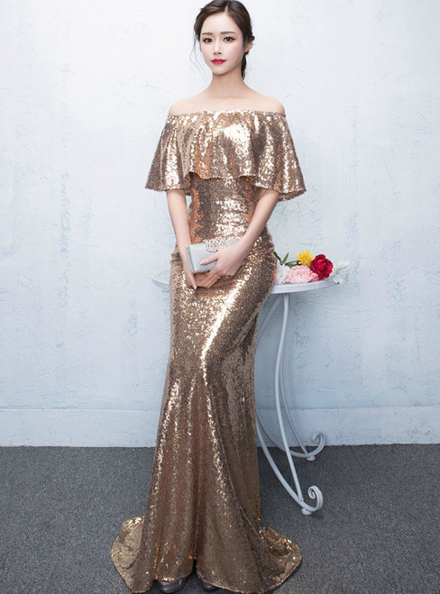 In Stock:Ship in 48 hours Gold Off The Shoulder Sequins Prom Dress