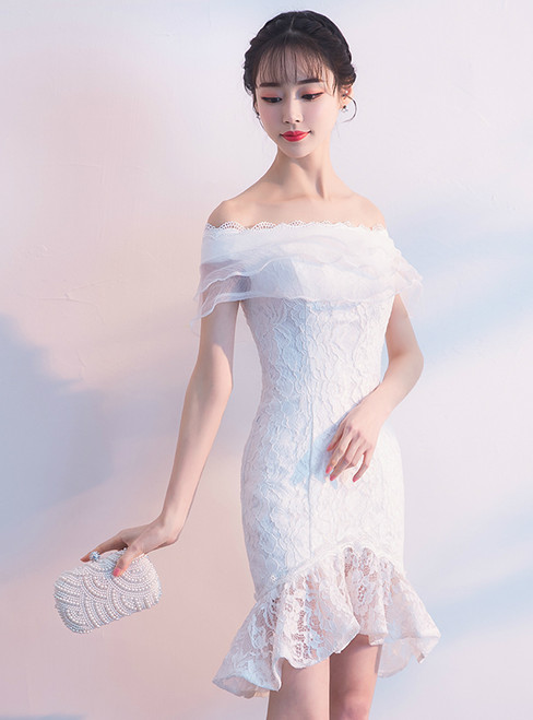 In Stock:Ship in 48 hours White Lace Mermaid Off Th Shoulder Homecoming Dress