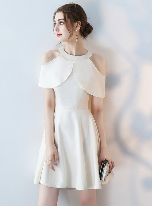 In Stock:Ship in 48 hours White Halter Satin Homecoming Dress