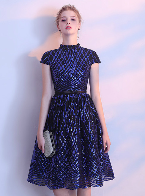 In Stock:Ship in 48 hours Blue High Neck Cap Sleeve Homecoming Dress