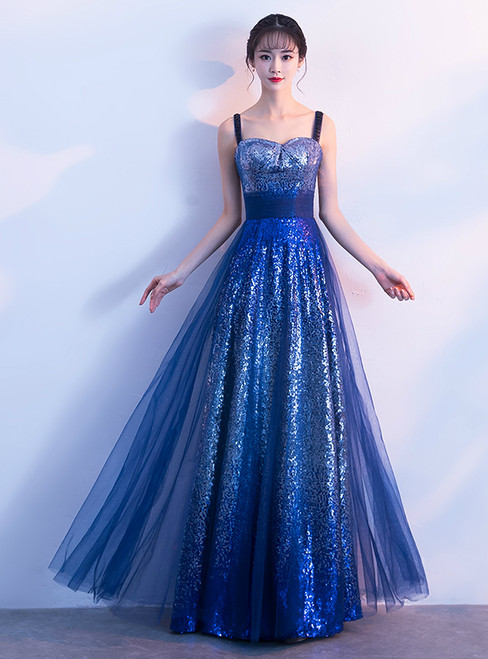 In Stock:Ship in 48 hours Blue Sequins Straps Prom Dress