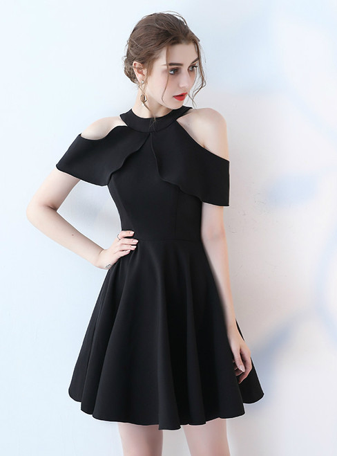 In Stock:Ship in 48 hours Black Halter Satin Homecoming Dress