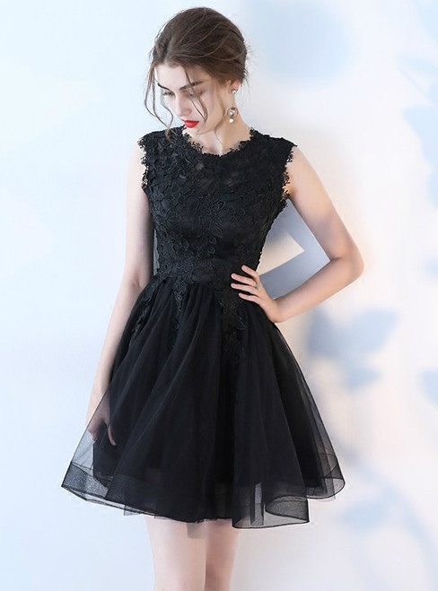 In Stock:Ship in 48 hours Black Lace Knee Length Homecoming Dress