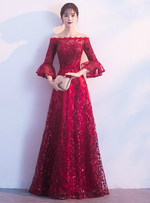 In Stock:Ship in 48 hours Burgundy Off The Shoulder Sequins Prom Dress
