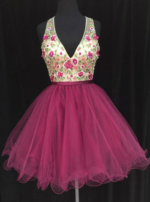 V-neck Sleeveless Appliqued Homecoming Dresses