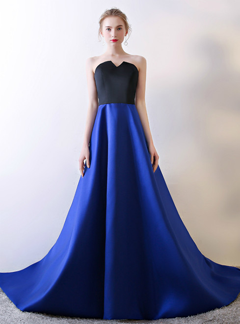 In Stock:Ship in 48 hours Blue Satin Strapless Prom Dress