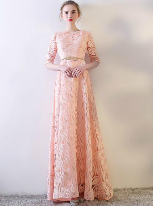 In Stock:Ship in 48 hours Pink Lace Short Sleeve Prom Dress