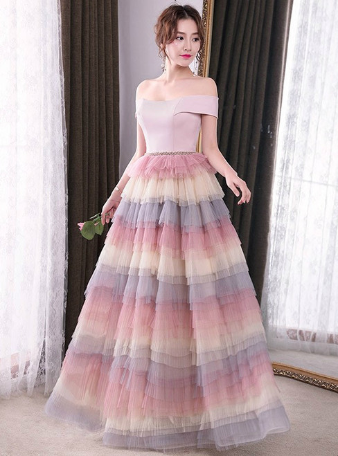 In Stock:Ship in 48 hours Off The Shoulder Tulle Prom Dress