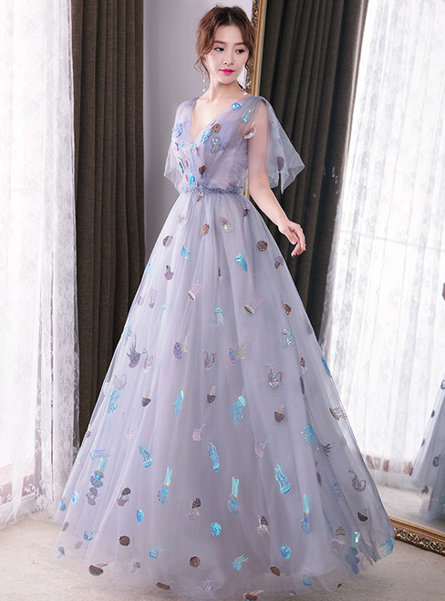 In Stock:Ship in 48 hours Blue Deep V-neck Backless Prom Dress