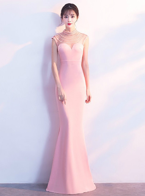 In Stock:Ship in 48 hours Pink Satin High Neck Mermaid Prom Dress