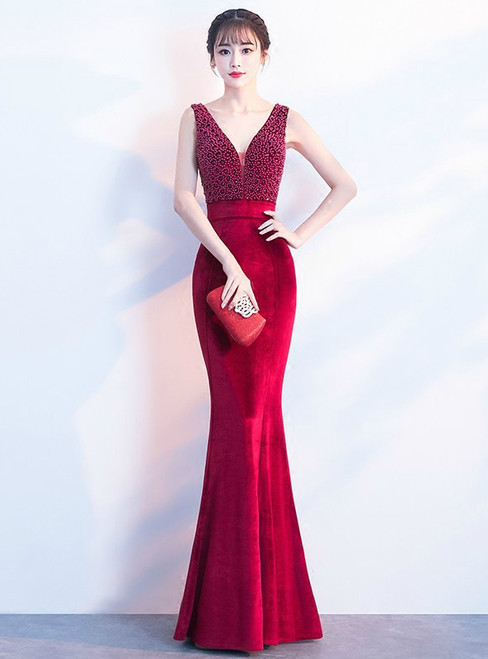 In Stock:Ship in 48 hours Mermaid Burgundy Velvet Prom Dress