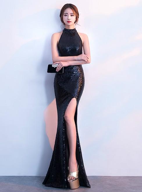 In Stock:Ship in 48 hours Mermaid Black Sequins Halter Prom Dress