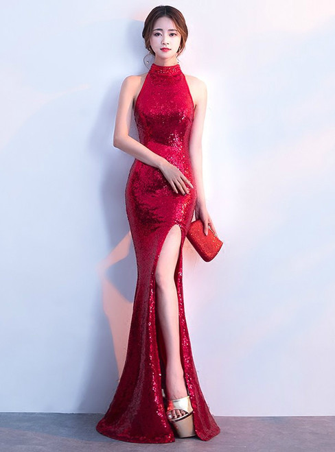 In Stock:Ship in 48 hours Mermaid Red Sequins Halter Prom Dress