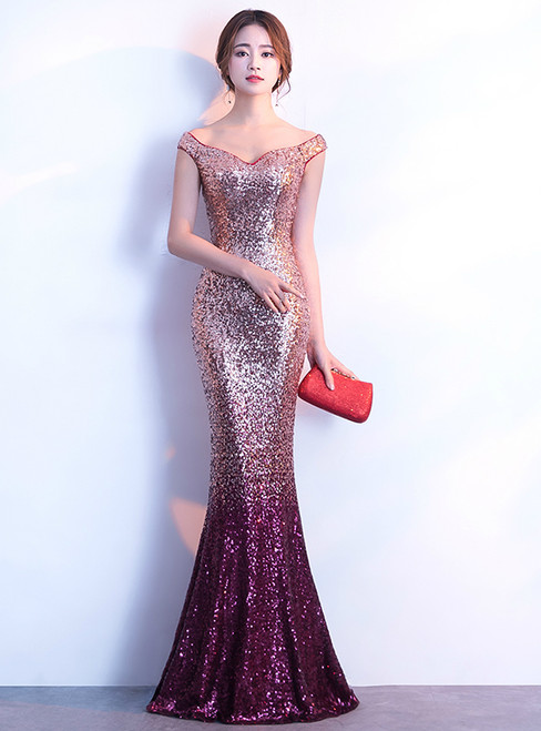 In Stock:Ship in 48 hours Mermaid Sequins Off The Shoulder Prom Dress