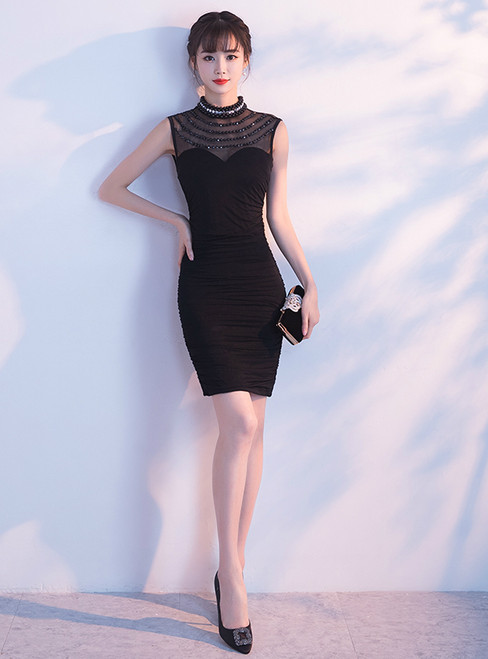 In Stock:Ship in 48 hours Mermaid Black High Neck Short Prom Dress