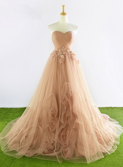 Champagne Sweetheart Tulle Pleats Appliques Wedding Dress