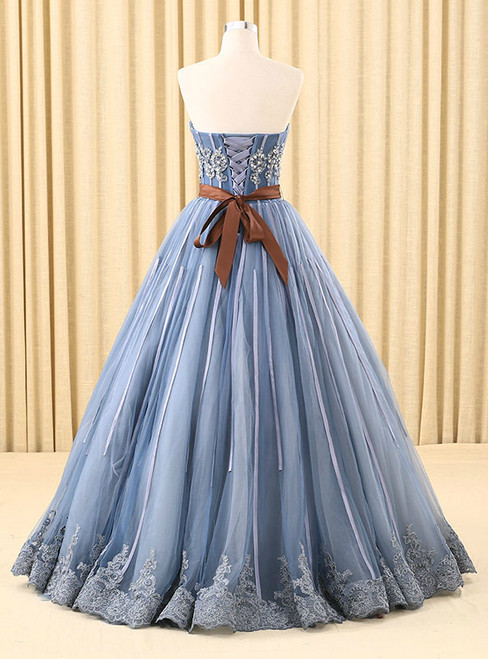 Blue Ball Gown Tulle Sweetheart Appliques Wedding Dress