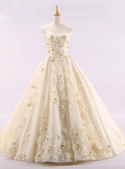 Luxury Ball Gown Strapless Tulle Appliques Wedding Dress