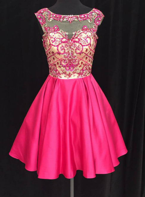 A-line Illusion Cap-sleeve Rhinestone Sweet Little Homecoming Dresses