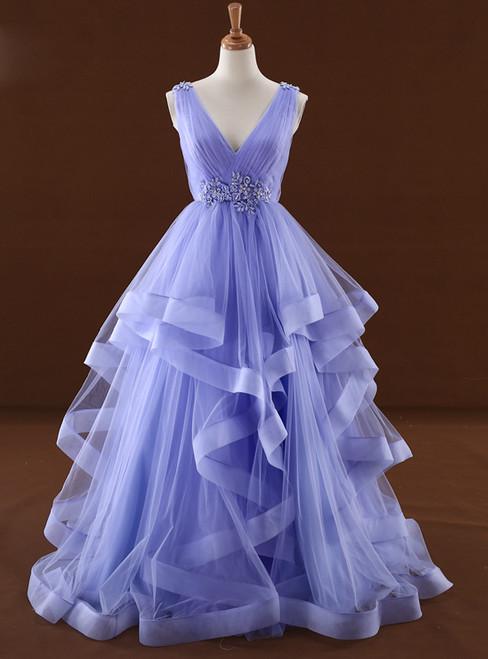 Purple Tulle High Waist V-neck Backless Wedding Dress