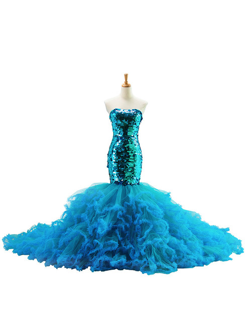 Blue Tulle Sequins Strapless Mermaid Trailing Wedding Dress