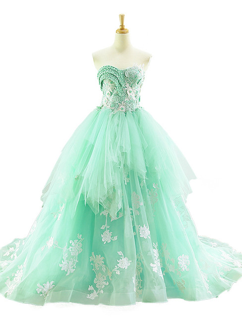 Green Ball Gown Tulle Sweetheart Appliques Wedding Dress