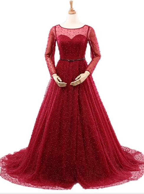 Sexy Burgundy Long Sleeve Tulle Pearls Wedding Dress