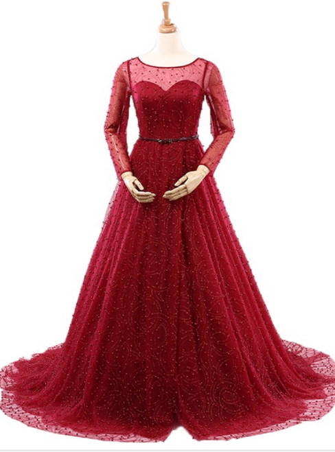 Sexy Burgundy Long Sleeve Tulle Pearls Wedding Dress