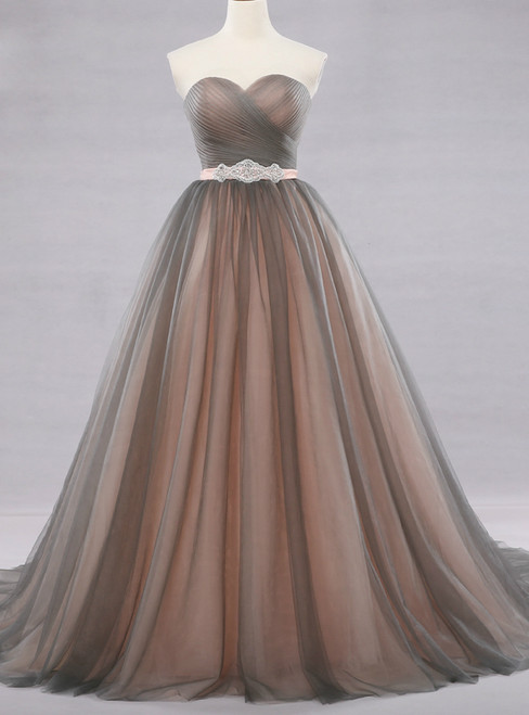 Ball Gown Gray Tulle Sweetheart With Beading Wedding Dress