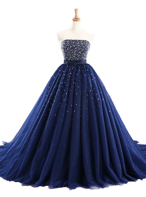 Luxury Blue Tulle Beading Strapless Bling Bling Wedding Dress