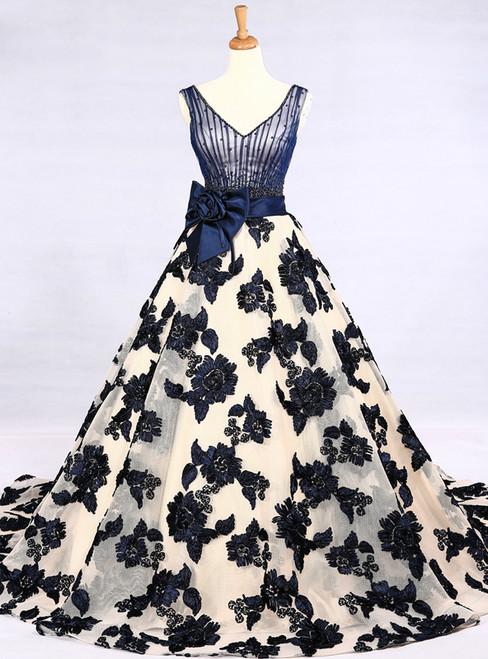 Champagne Tulle Blue Appliques V-neck Train Wedding Dress