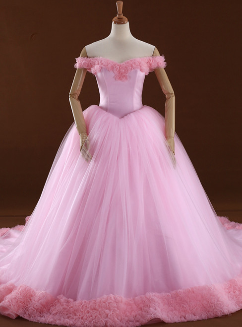 Pink Ball Gown Off The Shoulder Backless Tulle Wedding Dress