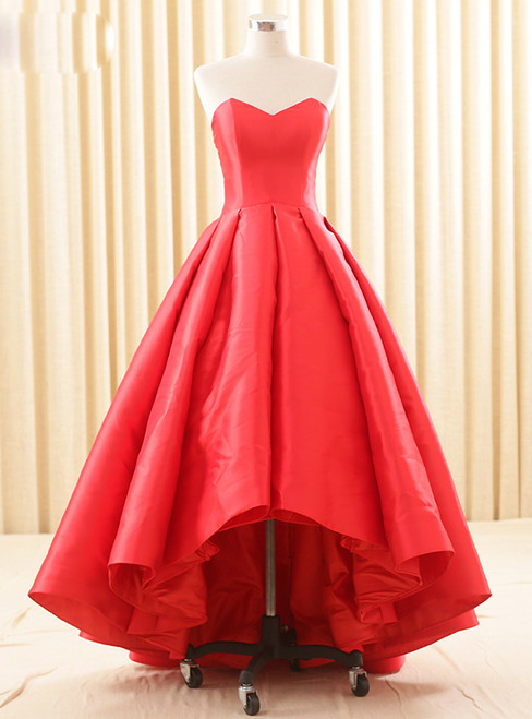 Simple Red Hi Lo Satin Sweetheart Backless Wedding Dress
