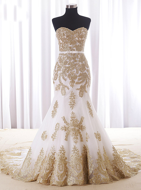 Mermaid White Tulle Gold Lace Sweetheart Wedding Dress