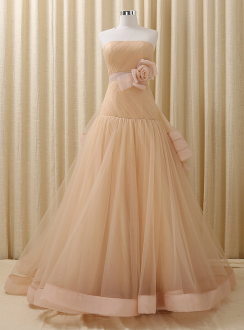 Champagne Tulle With Flower Strapless Backless Wedding Dress