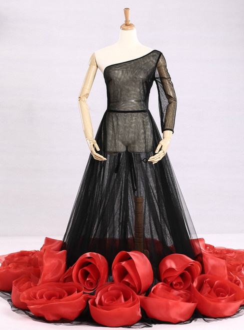 Black Tulle Photo Taking Dress For Pregnant Women Wedding Dress