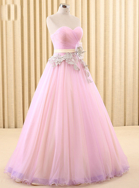 Pink Tulle Sweetheart Pleats With Flower Wedding Dress