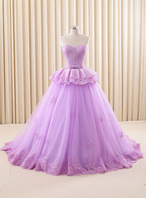 Ball Gown Purple Tulle Lace Sweetheart Wedding Dress