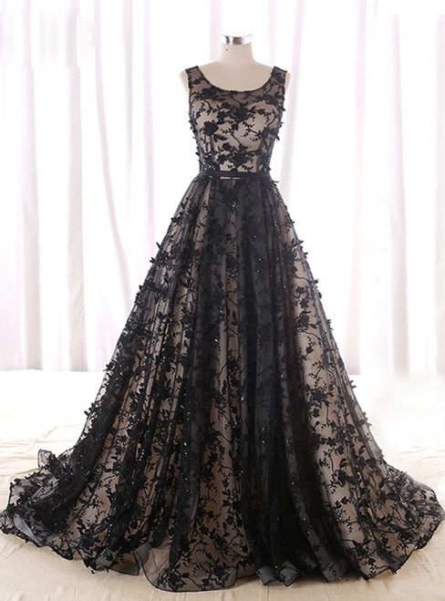 Black Lace Appliques Tulle Backless Wedding Dress