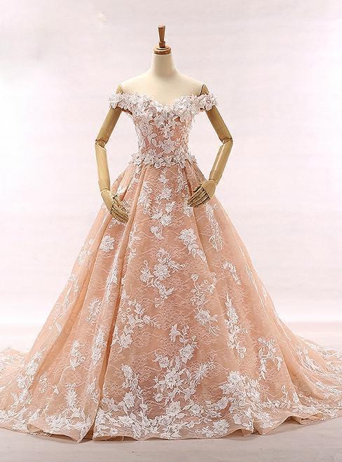 Fashion Pink Off The Shoulder Appliques Tulle Wedding Dress