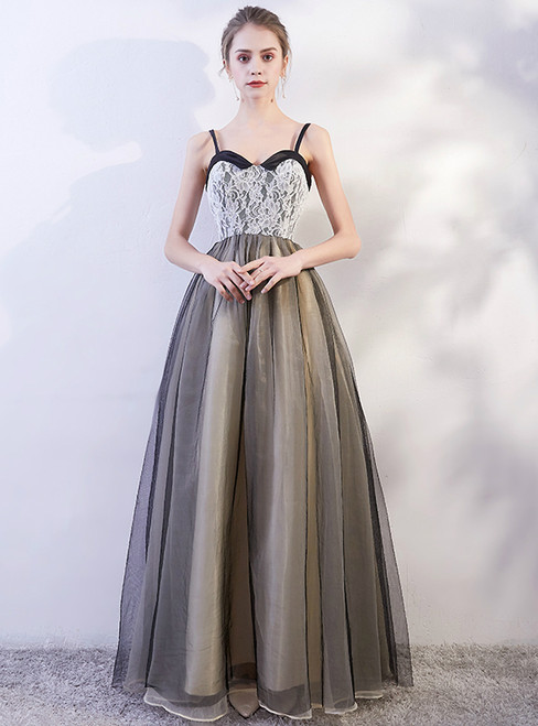 In Stock:Ship in 48 hours Tulle Spaghetti Straps Prom Dress