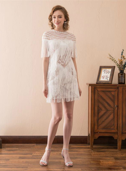 In Stock:Ship in 48 hours Smart And Charming Ivory Lace Stitching Tassel Cocktail Dress