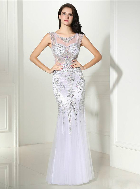 Mermaid White Sleeveless Rhinestone Beaded White Evening Dress