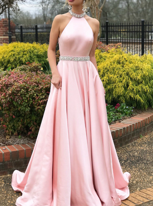 High Neck Pink Beaded Open Back Satin Long Prom Dress