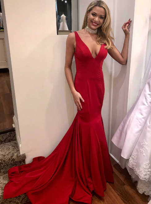 Mermaid Red Deep Satin V-neck Open Back Long Prom Dresses