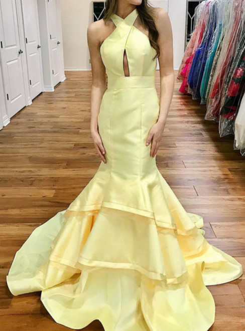 Mermaid Yellow Satin Halter With Open Back Long Prom Dress