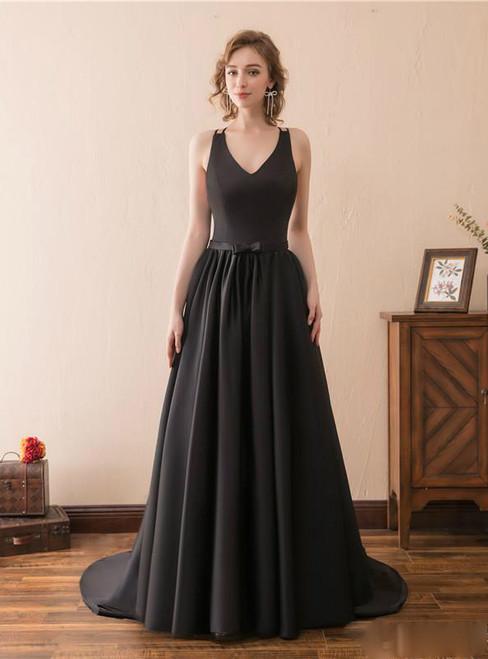 Sexy A-Line Black V-neck Satin Backless Trail Prom Dress
